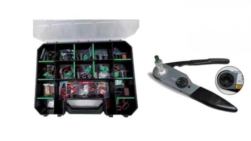 Valisette avec composants électriques connecteurs Deutsch pour engins de chantiers